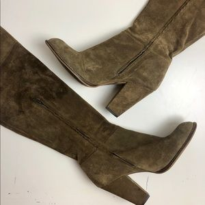 Zara Genuine Leather Suede Knee High Heel Boots